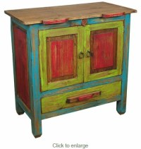 Small Multi-Colored Painted Wood Rustic Buffet