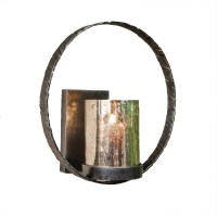 Pewter Finish Circle Wall Sconce Home Decor