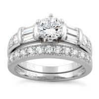 Sterling Silver Clear CZ Wedding Set Ring