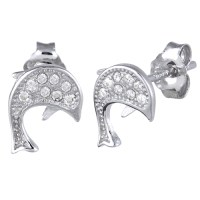 Sterling Silver Dolphin CZ Earrings