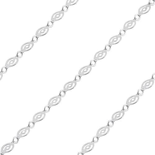 Sterling Silver Round Chain Circle Pattern 4mm