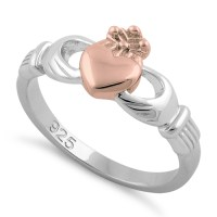 Sterling Silver Two Tone Rose Gold Plated Claddagh Ring