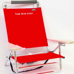 Lay Flat Beach Chair White Wood Imprinted Personalized Deluxe 5 Position