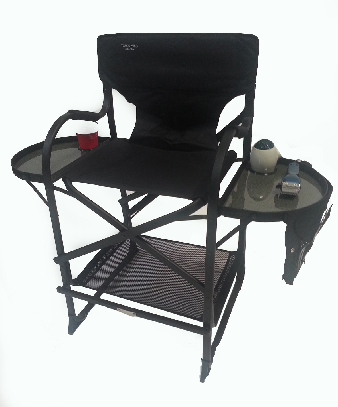 counter height directors chair timber ridge zero gravity with side table mid size salon makeup by pacific imports