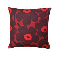 Marimekko Pieni Unikko Red/ Plum Throw Pillow - New Arrivals