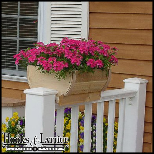 14in. Rounded Cedar Deck Rail Planter - Barrel Design