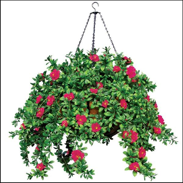 Hanging Basket With Artificial Plants And Flowers Hooks