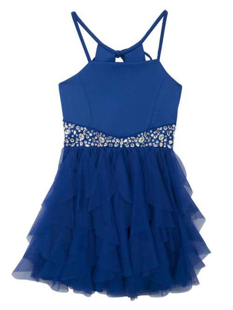 Rare Editions Tween Girls BLUE SCUBAMESH CASCADE DRESS