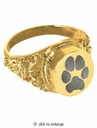 Pawprint Round Solid 14k Gold Cremation Ring