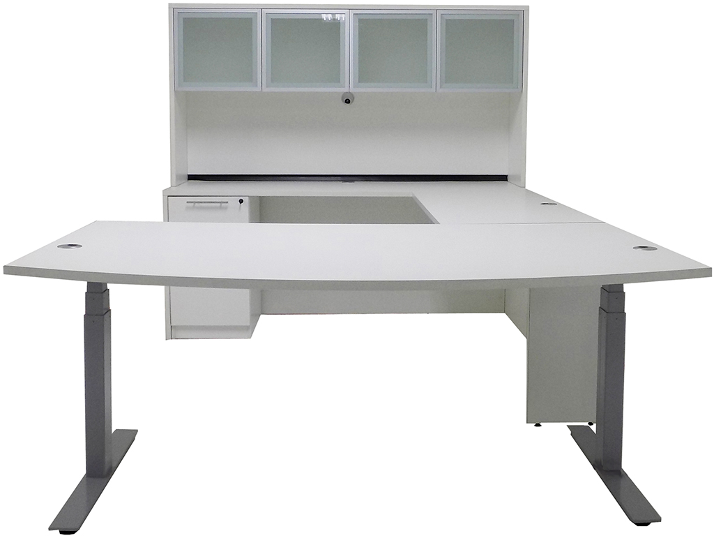 Electric Lift Adjustable Height White UDesk wHutch