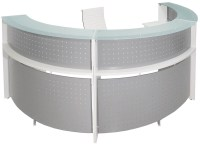 White 180 Half Round Curved Glass Top Reception Desk
