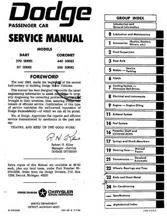 1965 Dodge Dart, Coronet Factory Service Manual