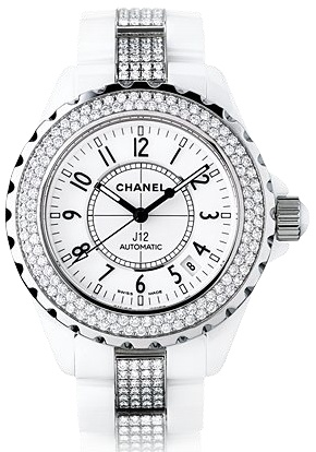 H1422 Chanel Ceramic White Dial Automatic Womens Watch.