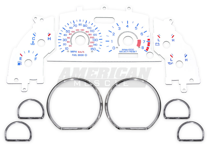 Mustang White Face Gauges and Chrome Rings Combo Kit