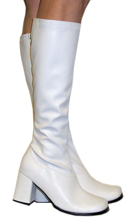 3 Quot Go Go Boots In White Faux Leather