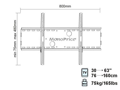 Silver Low Profile 30 Inch to 63 Inch Flat Panel TV Wall Mount