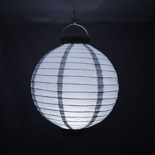 """10"""" Silver 16 Led Battery Operated Paper Lantern"""