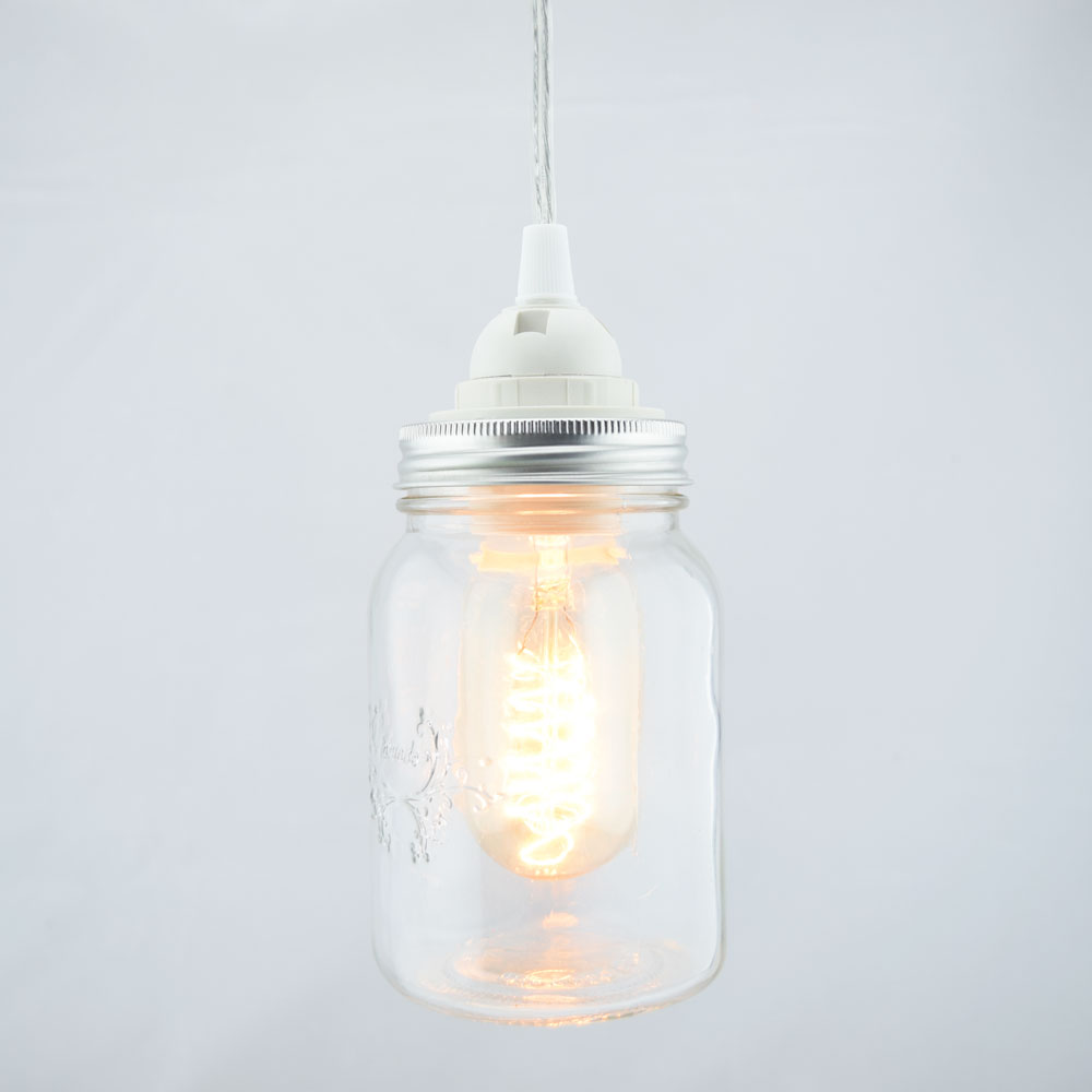 Mason Jar Pendant Light Kit, Wide Mouth, Clear Cord, 15FT