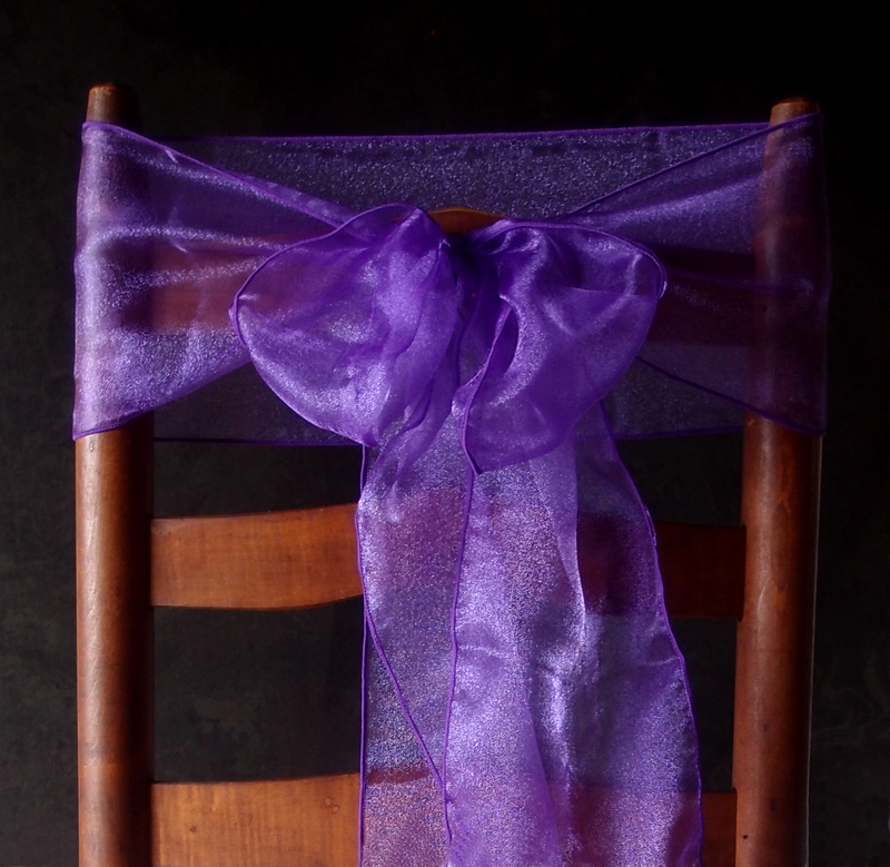 Purple Organza Chair Sashes 9FT 10 Pack