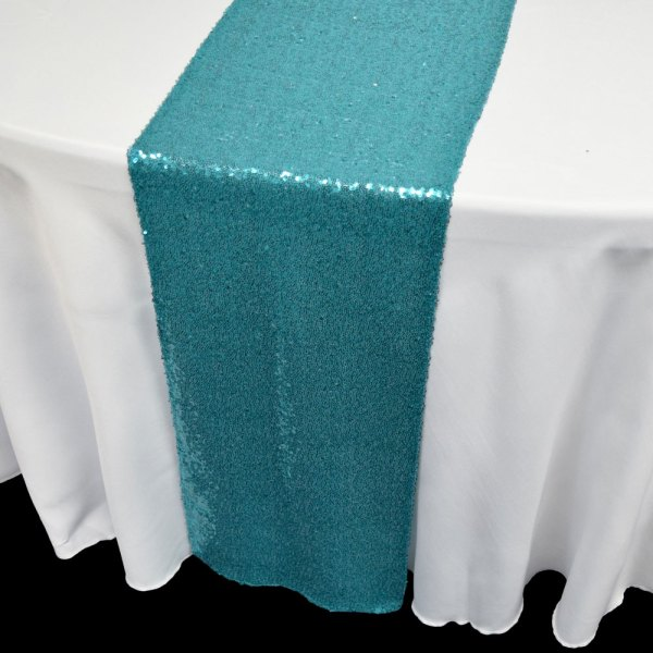 Turquoise Sequin Table Runner - 12 X 108