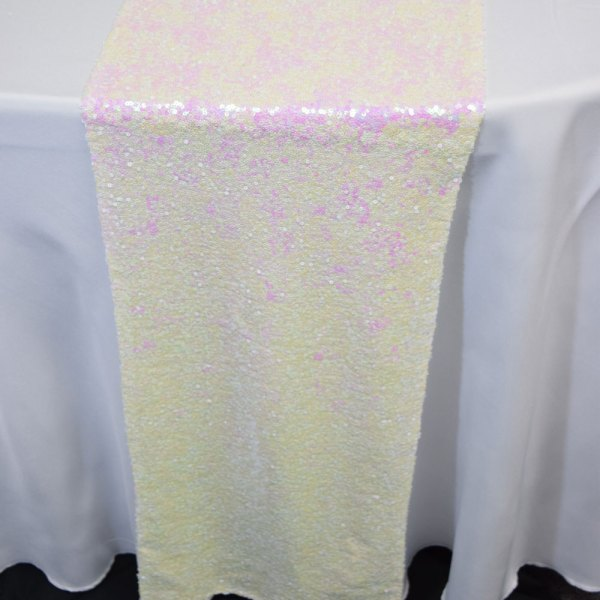 White And Pink Iridescent Sequin Table Runner - 12 X 108