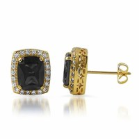 Lab Black Diamond Centerstone Gold Iced Out Earrings