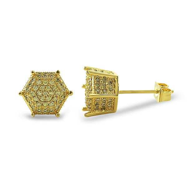 Lemonade 3D Pentagon Iced Out CZ Earrings