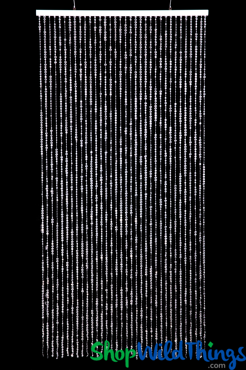 Diamonds Silver Metallic Beaded Curtain 9 Feet Long Silver Curtains For Events And Retail Stores