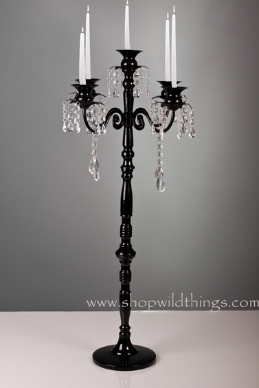 Tall Black Candelabra with Hanging Crystal Beads
