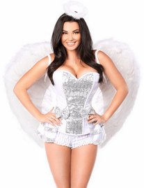 White Silver Innocent Angel Corset Costume