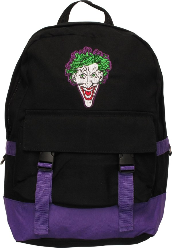 Joker Embroidered Face Black And Purple Backpack