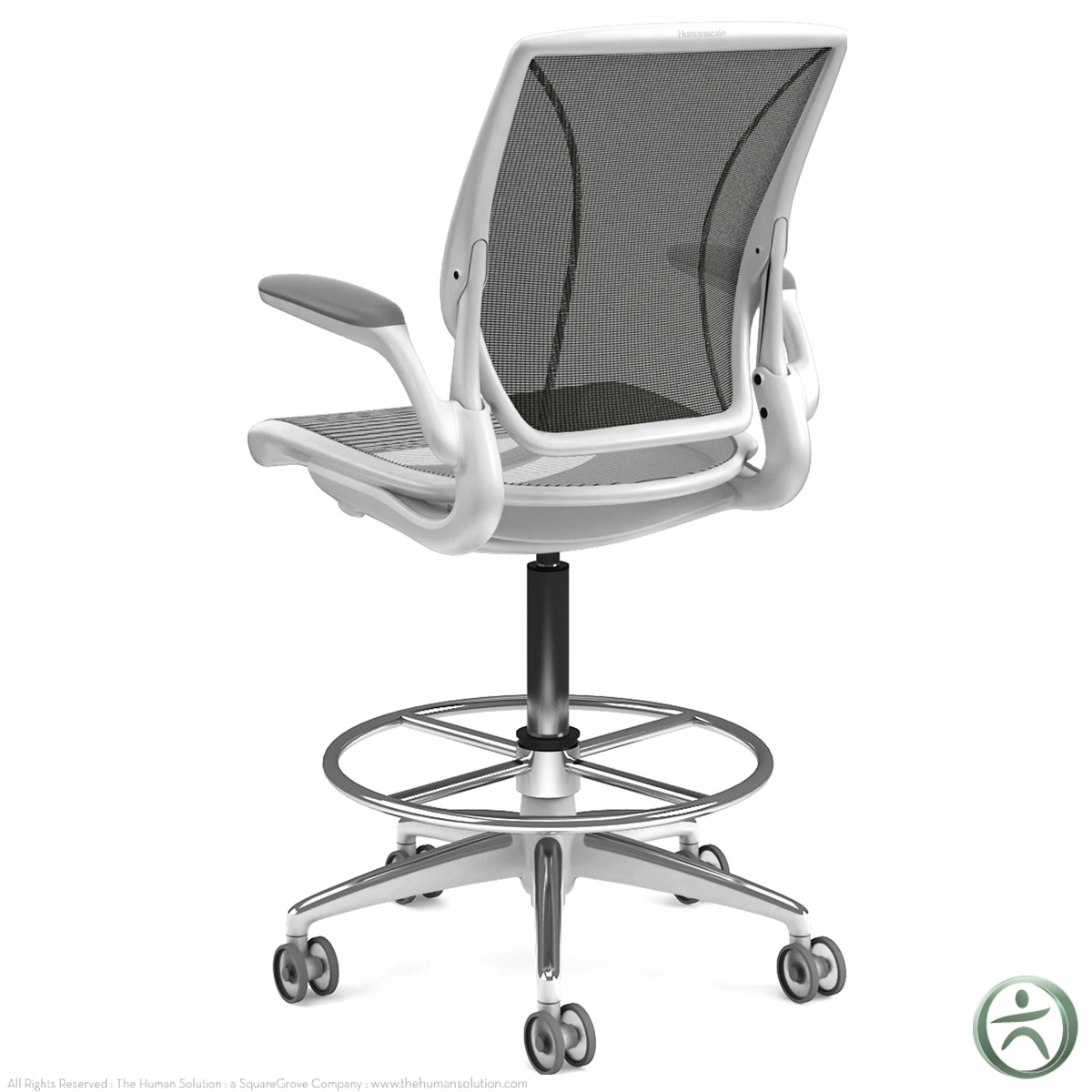 humanscale diffrient world chair white microfiber reclining and ottoman ergonomic office with lumbar support