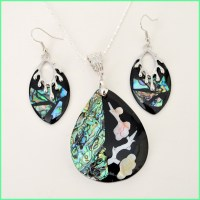 Abalone shell necklace and earrings