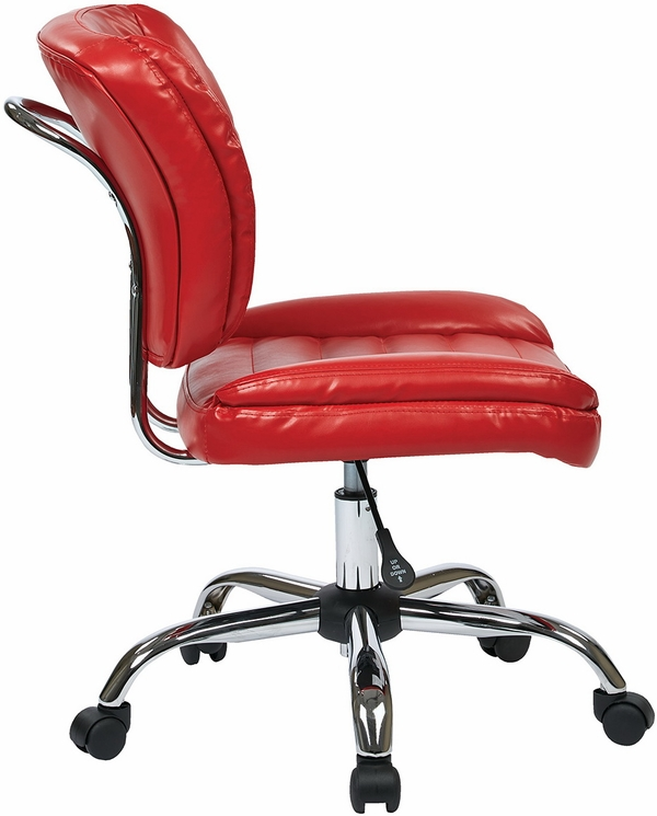 Armless Faux Leather Task Chair ST52050C in Red White