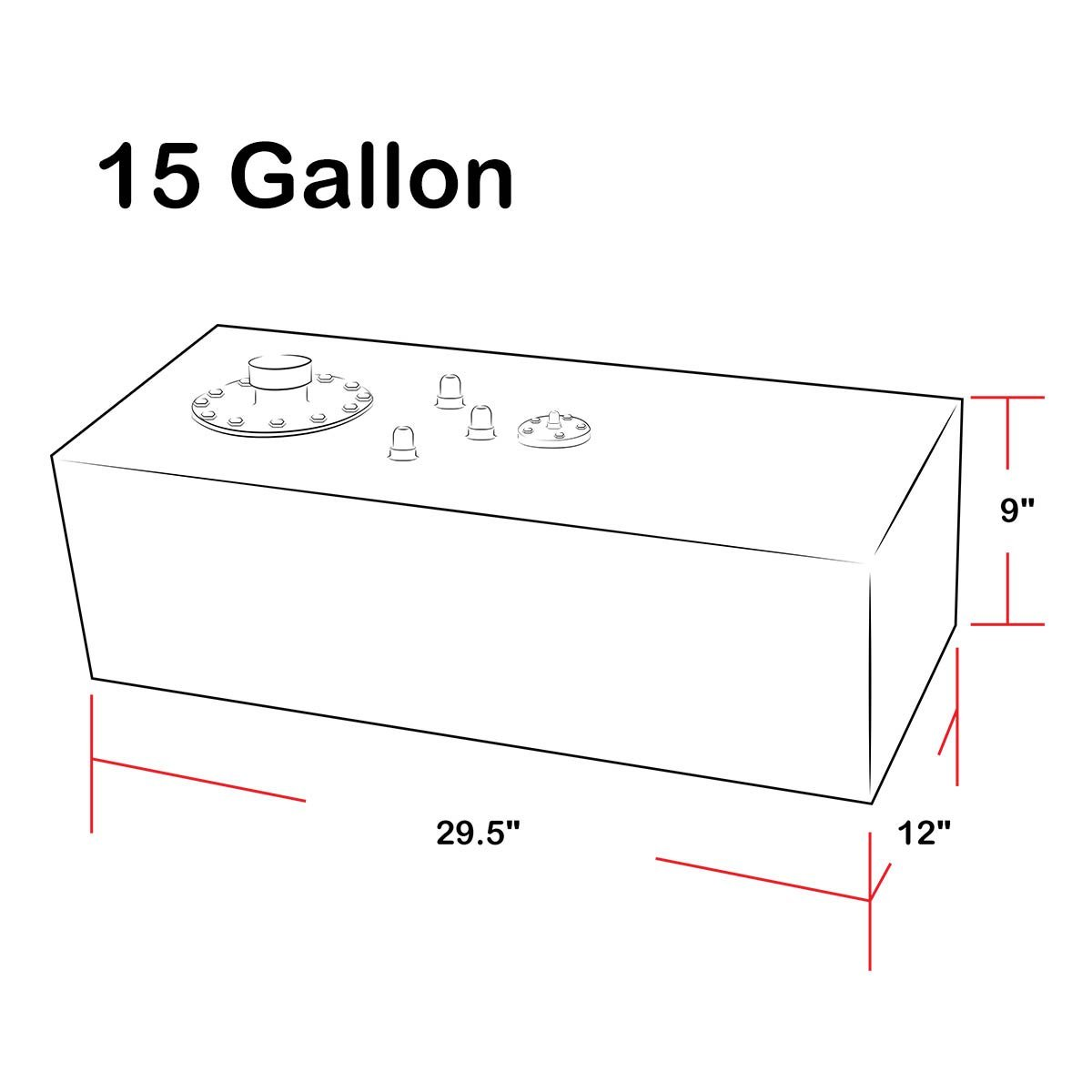15-Gallon Top-Feed Aluminum Fuel Cell Gas Tank w/Level