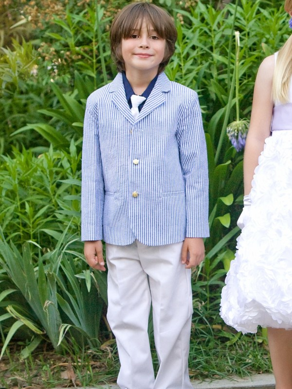 Blue White Boys Striped Seersucker Suit Withcotton Pants