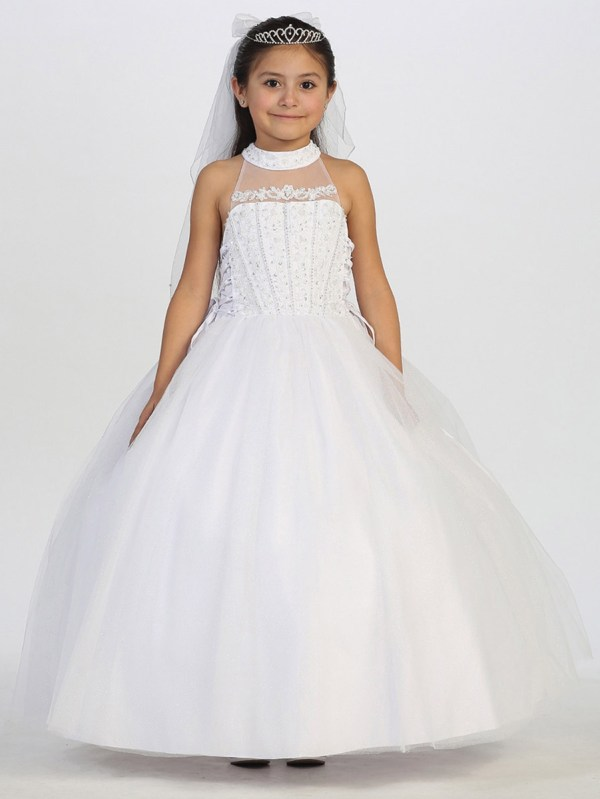 Communion Dress With Illusion Tulle Neckline