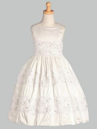 White Silk w/ Embroidered Tulle Lace Communion Dress