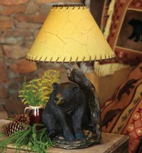 Lodge Cabin Rustic Black Bear Table Lamp