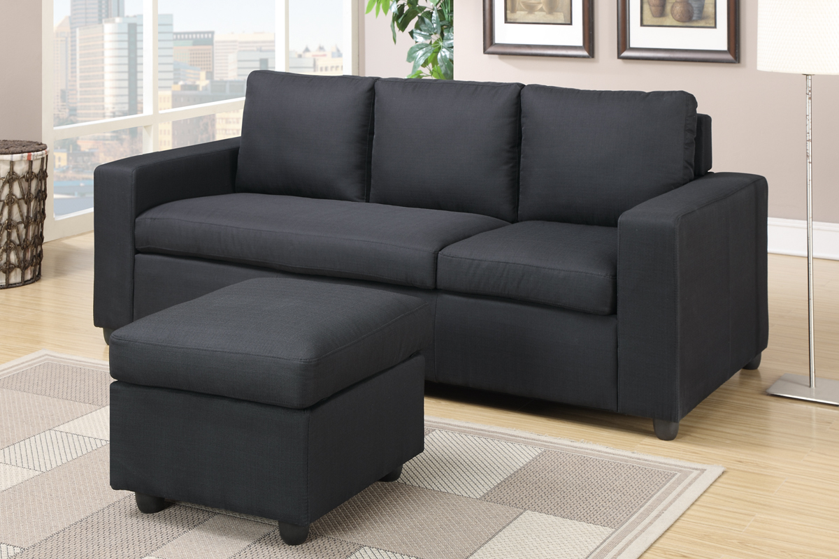 black fabric sofa chair base cushion covers poundex akeneo f7490 sectional steal a