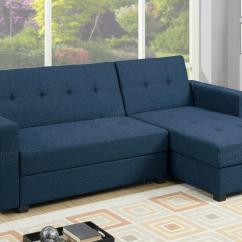 Blue Fabric Recliner Sofa Pull Out Sleeper Mattress Poundex Amala F7895 Sectional Bed Steal