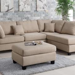 Brown And Beige Sofa Low Profile Modern Poundex Courtney F7605 Fabric Sectional