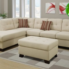 Sofa And Ottoman Inflatable Sleeper Poundex F7926 Beige Fabric Sectional