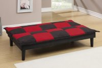 Poundex F7001 Black Twin Size Fabric Sofa Bed