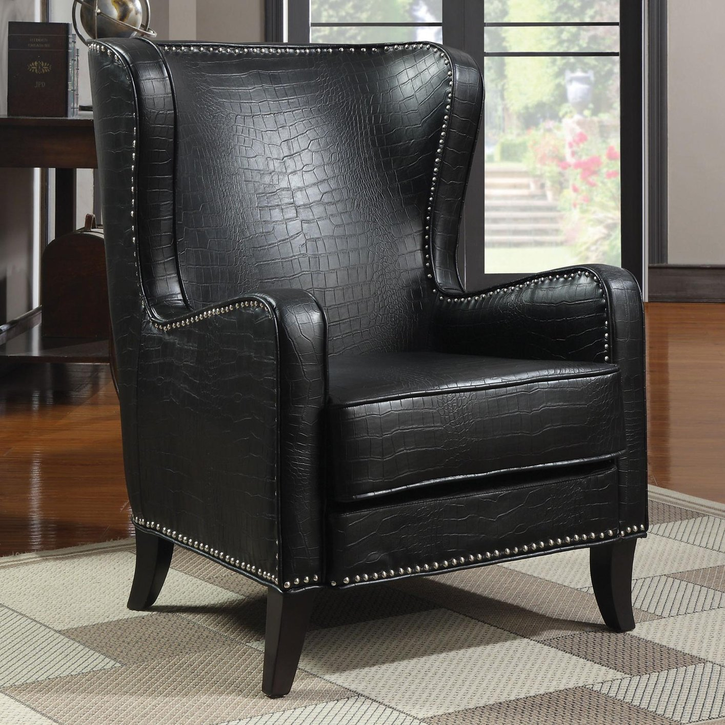Coaster 900162 Black Leather Accent Chair  StealASofa