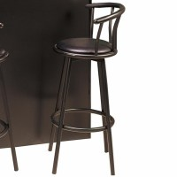 Coaster 2398 Black Leather Bar Stool
