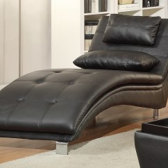 Lounge Sofa Chair Sectional Sleeper Slipcovers Poundex Duvis F7839 Black Leather Chaise Steal A