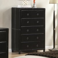 Coaster 201265 Black Leather Chest of Drawers - Steal-A ...