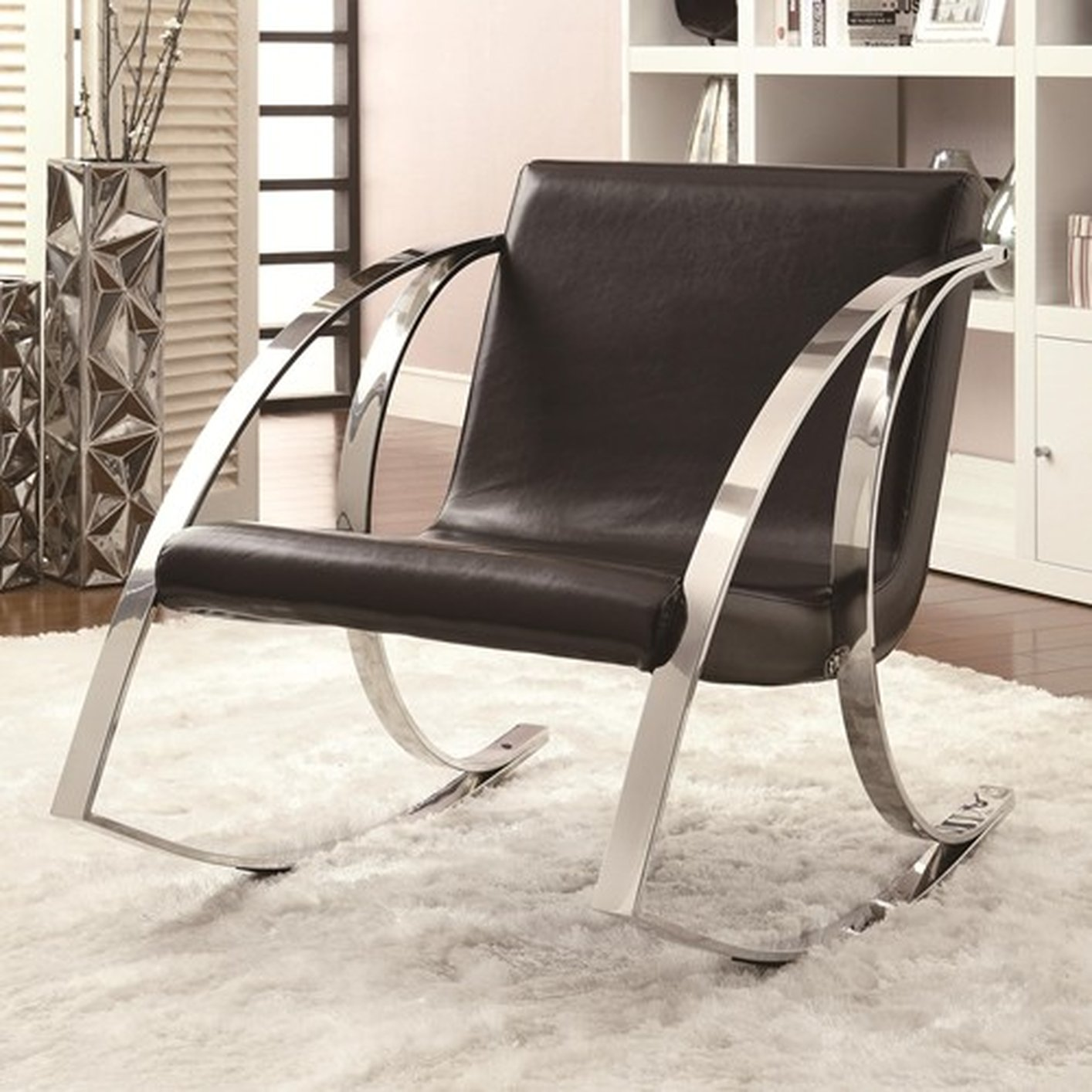 accent rocking chairs swing for bedrooms coaster 902146 black leather chair steal a sofa