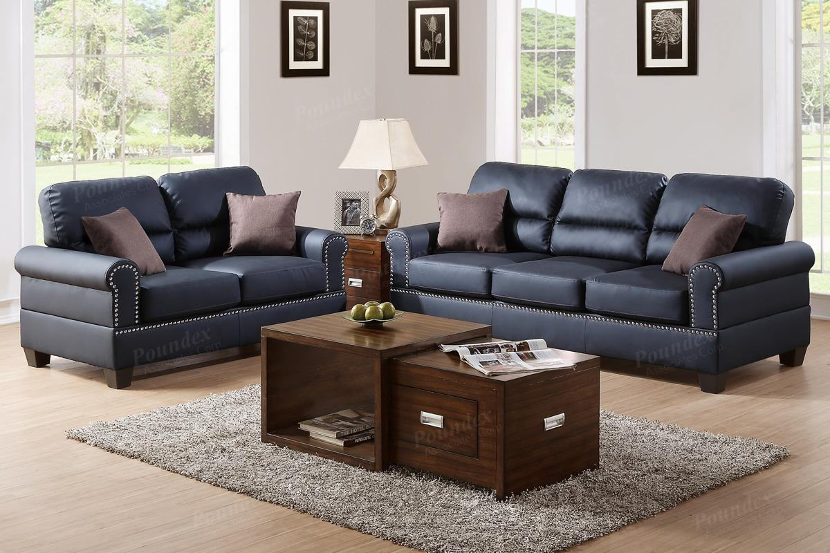 sofa and loveseat set up memory foam sleeper mattress full poundex aspen f7877 black leather